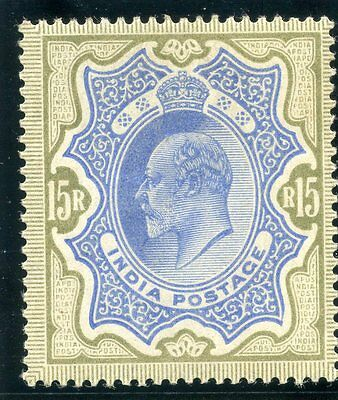 India 1909 KEVII 15r blue & olive-brown MLH. SG 146. Sc 75.