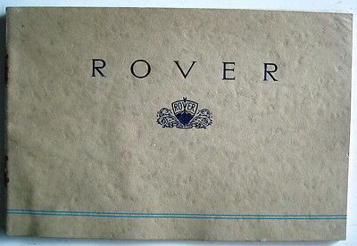 Rover 1939 Range Car Sales Brochure Saloon, Sports Saloon and Coupe 10 12 14 16