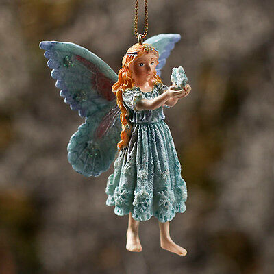 "Snowflake Frost FAIRY ORNAMENT  w/ Butterfly Wings 3"" high  #4025"