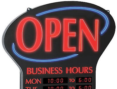 New NEWON Shatterproof Ultra Bright LED OPEN Sign Lighted Digital Business Hours