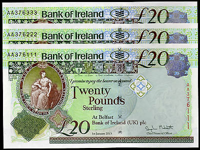 New 2013 series Bank of Ireland Belfast Banknotes £5 £10 £20 real local currency