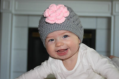 Handmade Crochet Knit Hats For Babies & Kids-Gray With Pink Flower-Sizes 0-6 Yrs