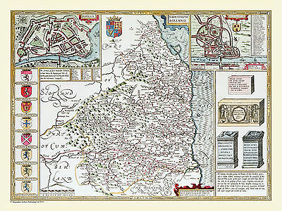 Old County Map Of Northumberland 1611 By John Speed