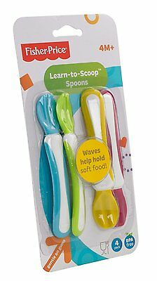 Fisher Price Learn to Scoop First Feeding Spoon baby 4pcs Pack Free 3034 Trendy