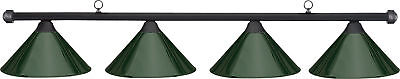 HJ Scott Black 4-Shade Bar/Green Metal Shade Billiard Pool Table Light