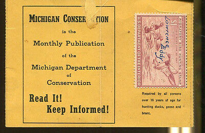 MICHIGAN 1946 Resident Hunting License/ RW13 Federal Duck Stamp - 175
