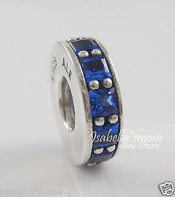 ETERNITY Authentic PANDORA Silver/ROYAL BLUE CRYSTAL Spacer/Charm/Bead NEW