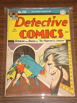 Detective Comics #106 Fn- (5.5) Dc Comics Batman December 1945<