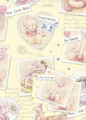 Winnie The Pooh New Little Baby Gift Wrap 2 Sheets & 2 Tags New Gift