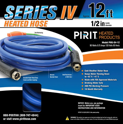 Pirit 12' Heated Water Hose - RV Camper Freeze Protected