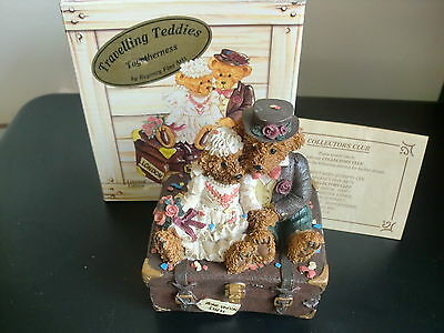 Just Married Travelling Teddies Regency Fine Arts Ornaments 1997 Limited Edition
