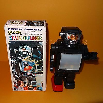 Vintage Battery Operated Super Space Explorer Robot Space Toy Boxed Rare