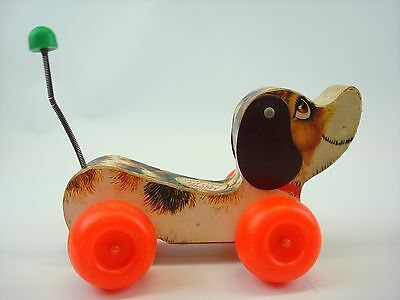 Vintage #693 1965 Fisher Price Little Snoopy Wooden Pull Puppy Toy