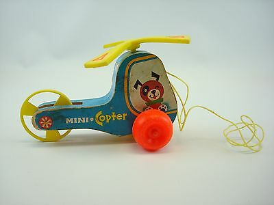 Vintage #448 1970 Fisher Price Mini Copter Pull Helicopter Toy