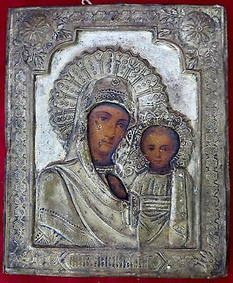 Antique Our Lady Of Kazan Religious Icon Russian Virgin Mary Mother Of God Art ~