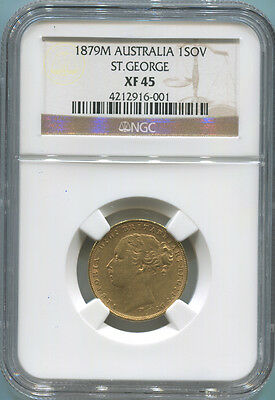 1879 M Australia Gold Sovereign, NGC XF 45. Queen Victoria