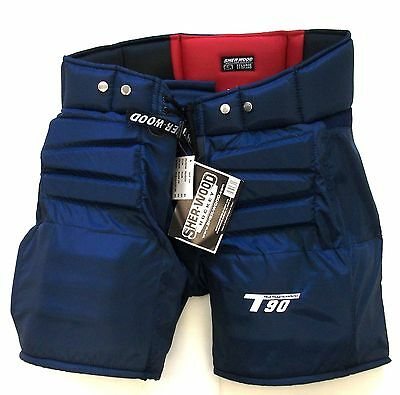 Sherwood T90 ice hockey goalie pants senior size medium navy blue new goal M Sr