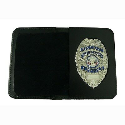 Security Officer Silver Badge Leather Wallet Case Permit Certification Holder