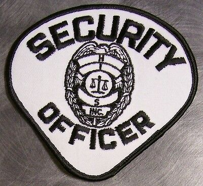 Embroidered Police Patch Security Officer NEW black on white