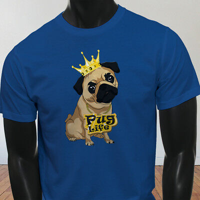 Funny Crown Dog Lovers Animal Cute Pug Life Cartoon Mens Blue T-Shirt
