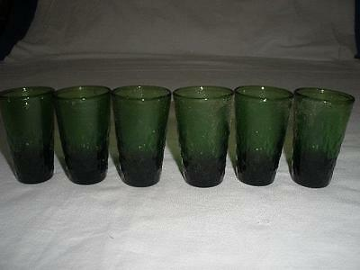 Lovely Patterned Green Glass  Liqueur Glasses X 6