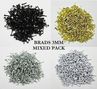 BB BRADS 3mm TINY ROUND pk of 40 CHOICE OF COLOURS craft scrapbooking split pins