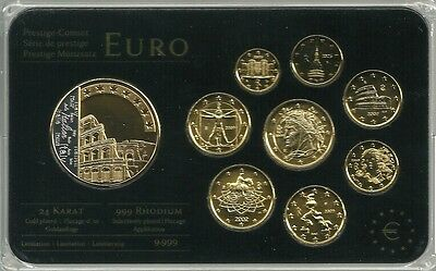 Italien 2002/2009 Euro KMS Prestige Coinset Rhodium/Gold 3,88 € incl. Medaille