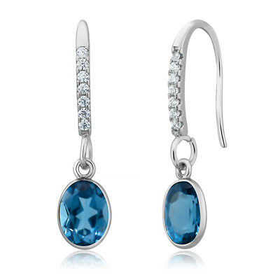 3.00 Ct Oval London Blue Topaz 925 Sterling Silver Dangle French-Wire Earrings