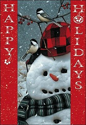 """Leanin Tree """"SNOWMAN WITH CHICKADEES"""" ~ BOXED CHRISTMAS CARDS ~ Box of 10 Cards"""