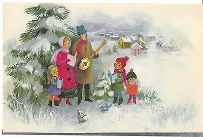 Vintage Christmas Card Family Sings Carols Unused With Decorated Envelope