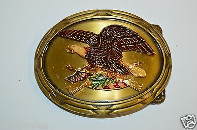 Vintage 1978 Brass Biker American Bald Eagle Right To Bear Arms Belt Buckle Guns
