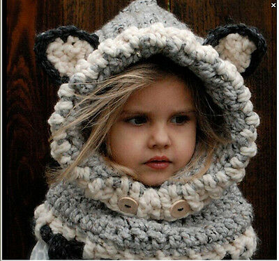 New Design Fox Ear Winter Windproof Hats And Scarf Set For Kids Boys Girls