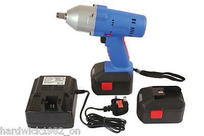 "LASER TOOLS 6314 CORDLESS 1/2"" DRIVE 18v IMPACT WRENCH GUN 2 X LITHIUM BATTERIES"