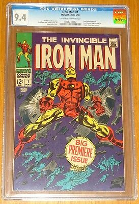 Iron Man #1 Cgc 9.4 Nm Marvel Comics May 1968 Origin Issue Near Mint (Sa)