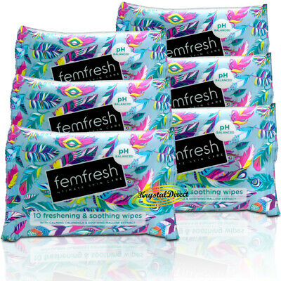 6x Femfresh Intimate Hygiene Skin Care Feminine Freshening Travel Size Wipes 10s