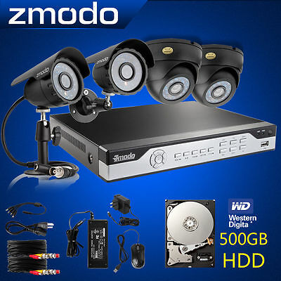 Zmodo 4CH 960H DVR Dome & Bullet CCTV Security Camera System Easy Setup 500GB