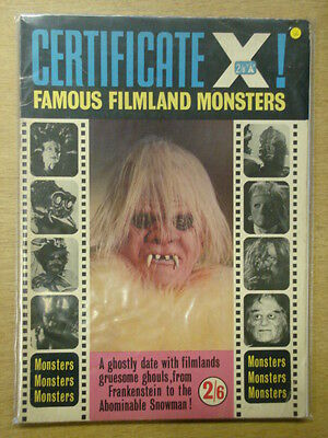 Certificate X Famous Filmland Monsters 1965 Vg Horror Magazine