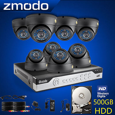Zmodo 8CH 960H Video Surveillance DVR Outdoor CCTV Camera Security System 500GB