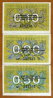 SET Lithuania, 0.10;0.20;0.50 Talonas, 1991, First EX-USSR, Pick 29-30-31, UNC