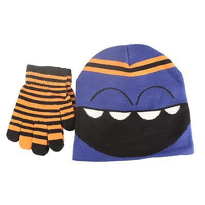 2pc Monster Boy's Kids Age 4-7 Knit Beanie Hat Touch screen Gloves Set Blue Org