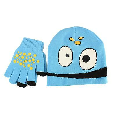 2pc Monster Boy's Kids Age 4-7 Knit Beanie Hat Touch screen Gloves Set Lt Blue