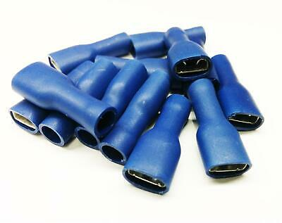 100x Blue Fem Spade Terminal Fully Insulated Connector Electrical Audio Wiring
