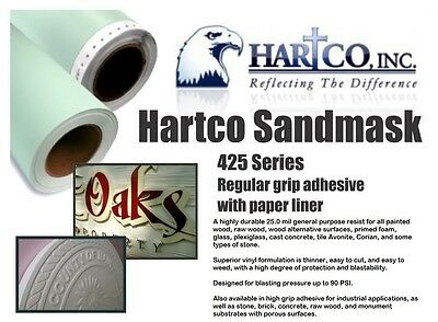 "20"" X 10 Yds 425 Hartco Sandblast Film For Wood Glass Plexiglass Tile Avonite"