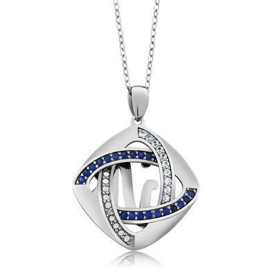 925 Silver Inter-loop Created Sapphire and Accent Diamond Pendant 18 Inch