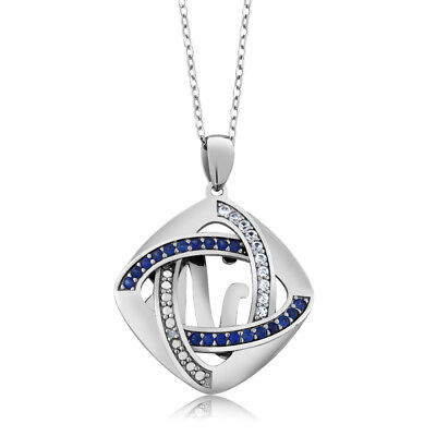 925 Sterling Silver Inter-loop Created Sapphire & Accent Diamond Pendant 18 Inch