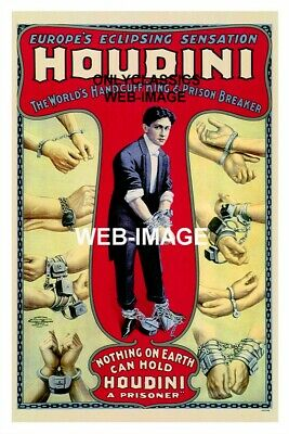 1906 Harry Houdini Escape Artist Litho Poster Magic Handcuff's Master Magician