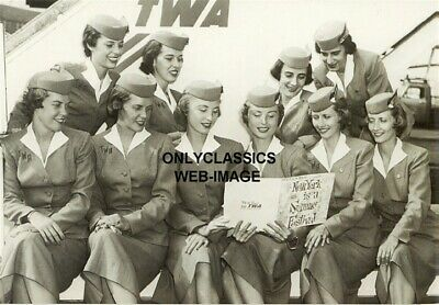 '56 Twa Airlines Cute Stewardess Identical Twins Flight Attendant Airplane Photo