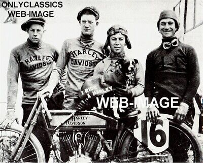 1917 Harley Davidson Motorcycle Racing With Mascot Dog Photo Wrecking Crew Racer