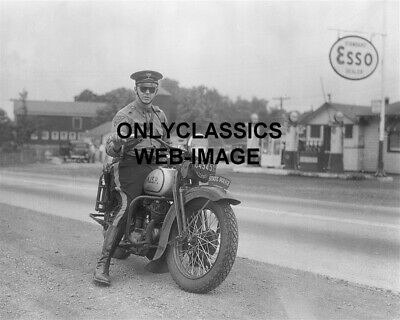 1935 Harley Davidson Motorcycle Trooper State Police Nj Lic Photo Esso Gas Sign