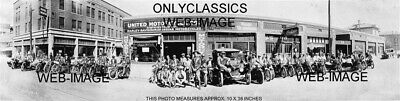 1923 Harley Davidson And Indian Motorcycle Dealer Lineup Panoramic 10X36 Photo